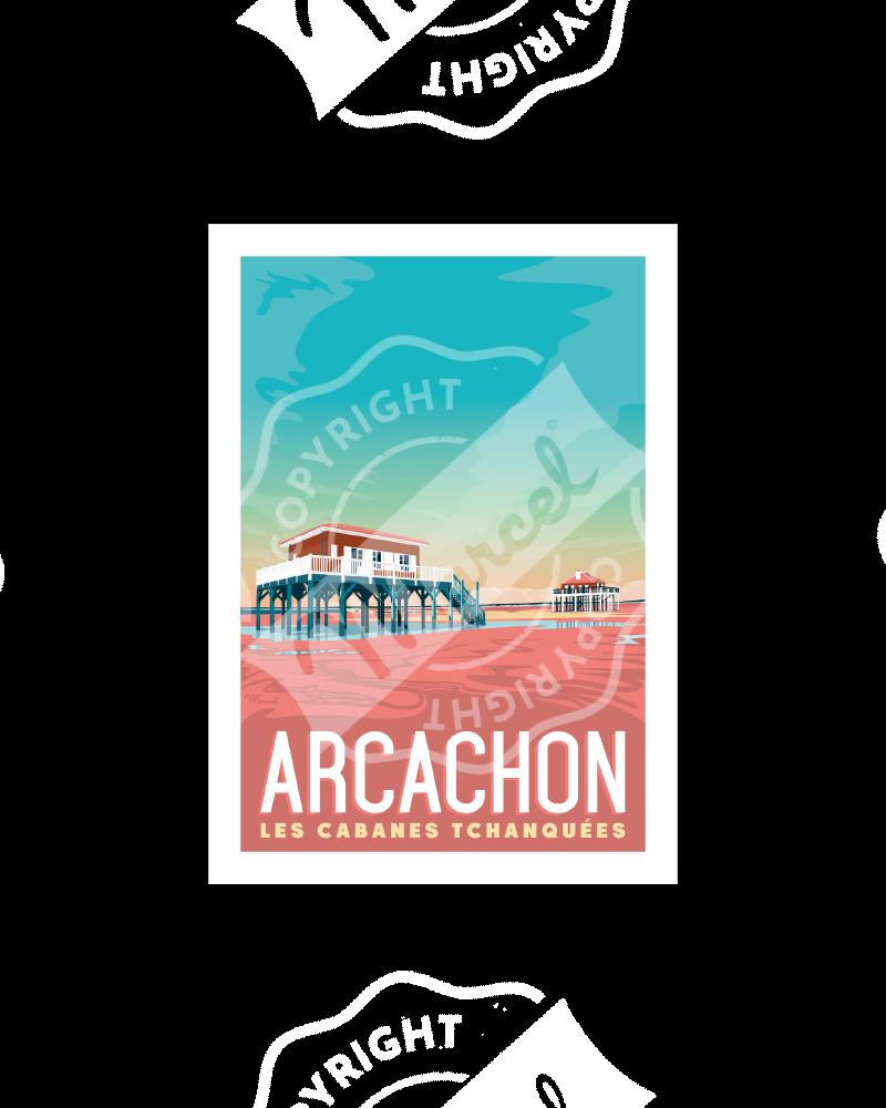 """Postcard ARCACHON  """"Les Cabanes"""" A5"""