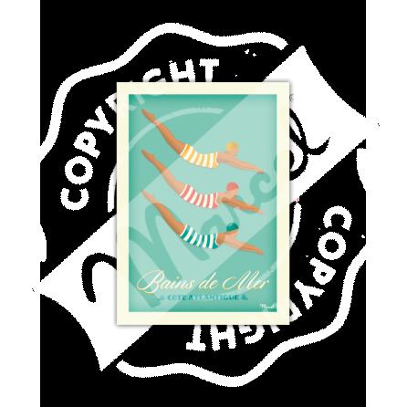 "Carte Postale BAINS DE MER  ""Côte Atlantique"" A5"