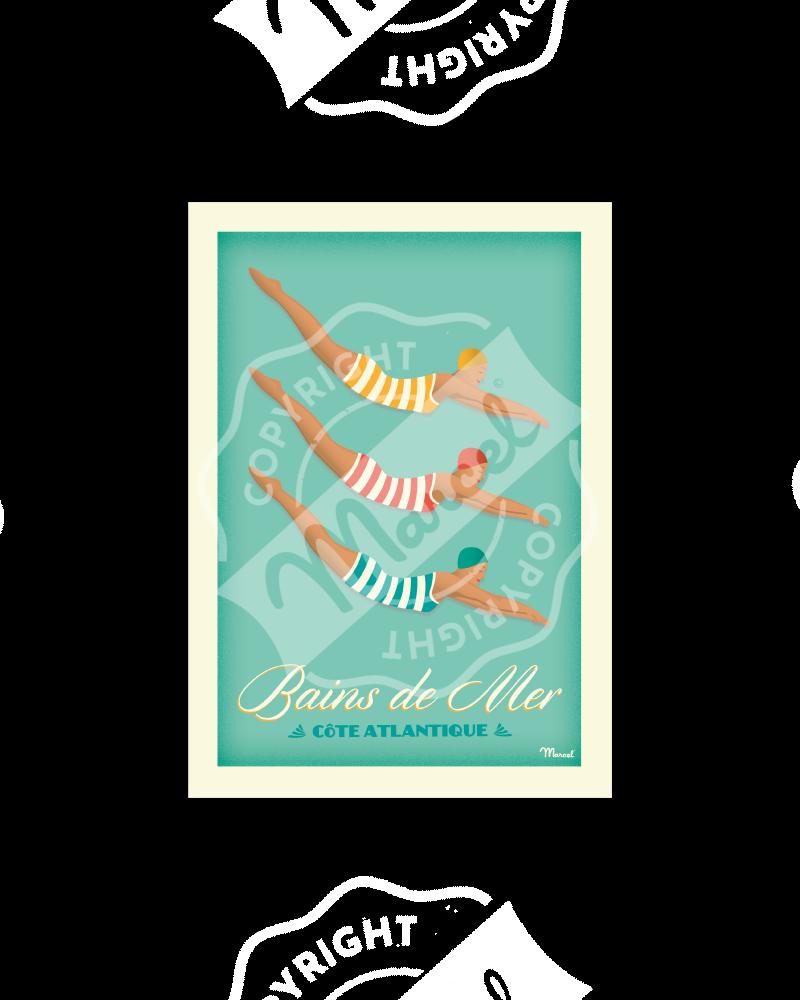 "Postcard BAINS DE MER  ""Côte Atlantique"" A5"