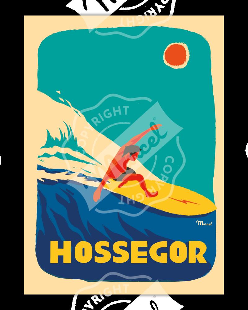 "Affiche Hossegor ""Surfeur"""