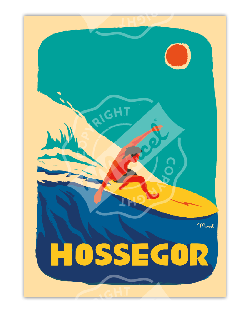 "Poster Hossegor ""Surfeur"""