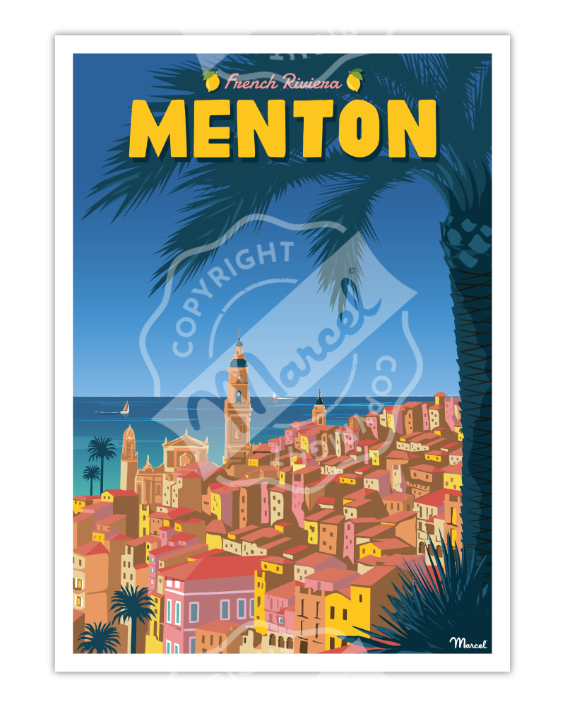 "Affiche MENTON ""French Riviera"""