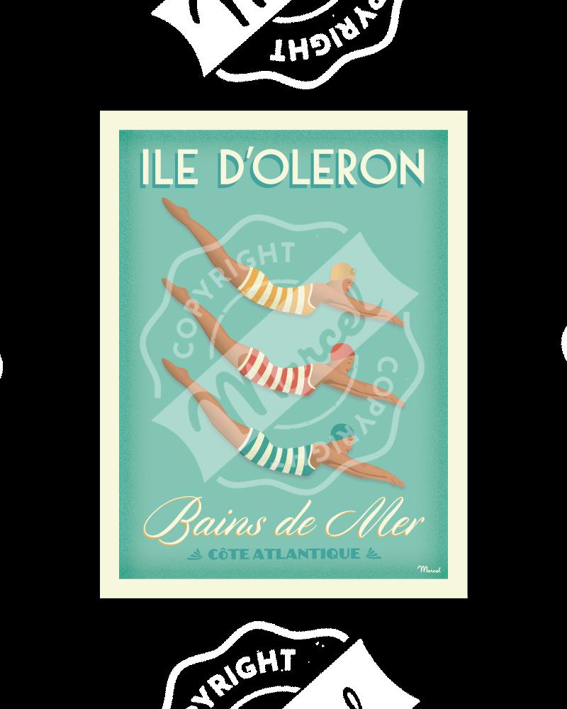 """Affiche BAINS DE MER """"Île d'Oléron"""""""