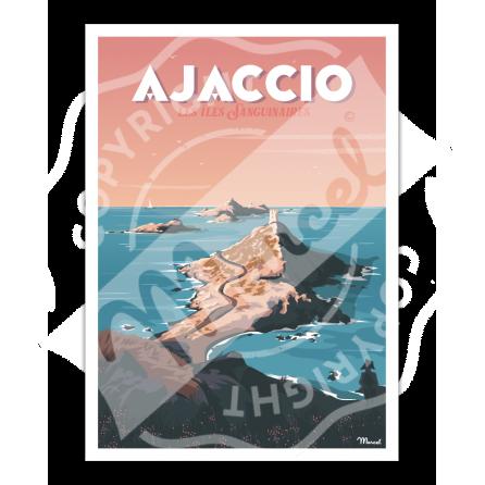 """Affiche AJACCIO """" Les Îles Sanguinaires """""""