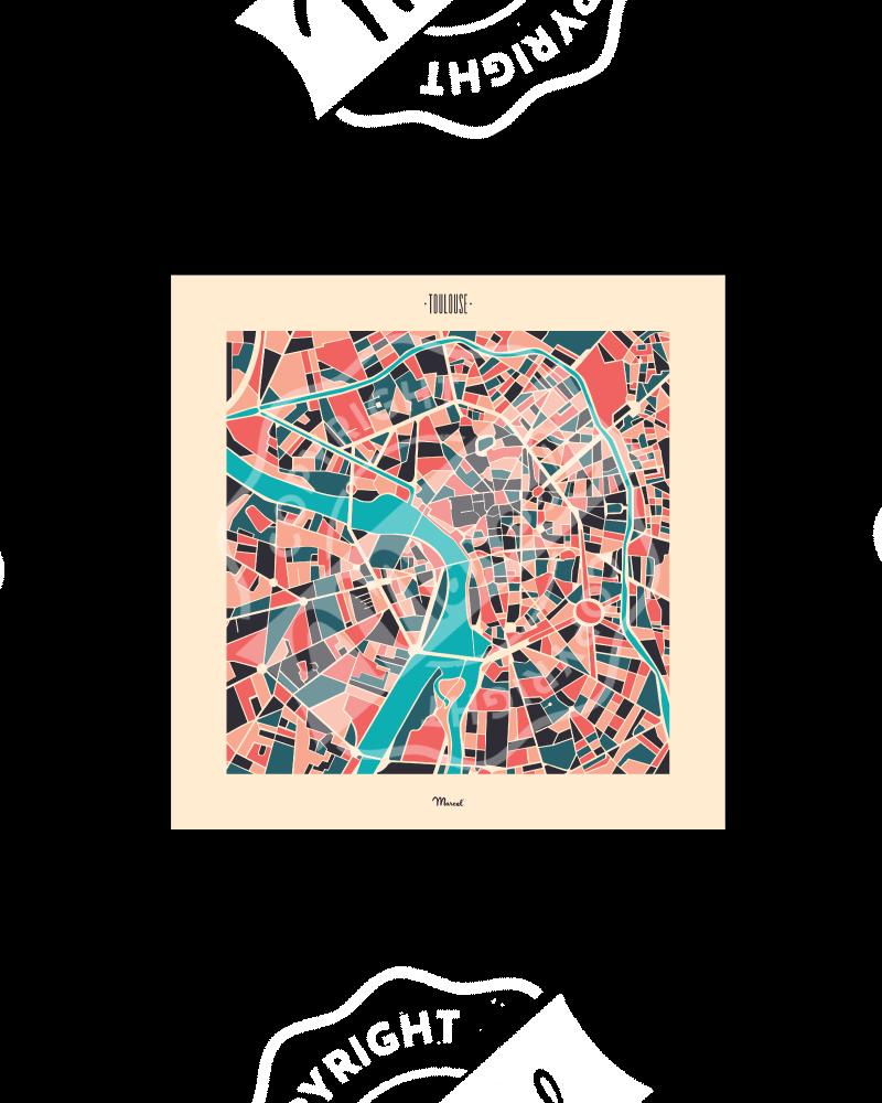 """Postcard TOULOUSE """"Plan Mozaic"""""""