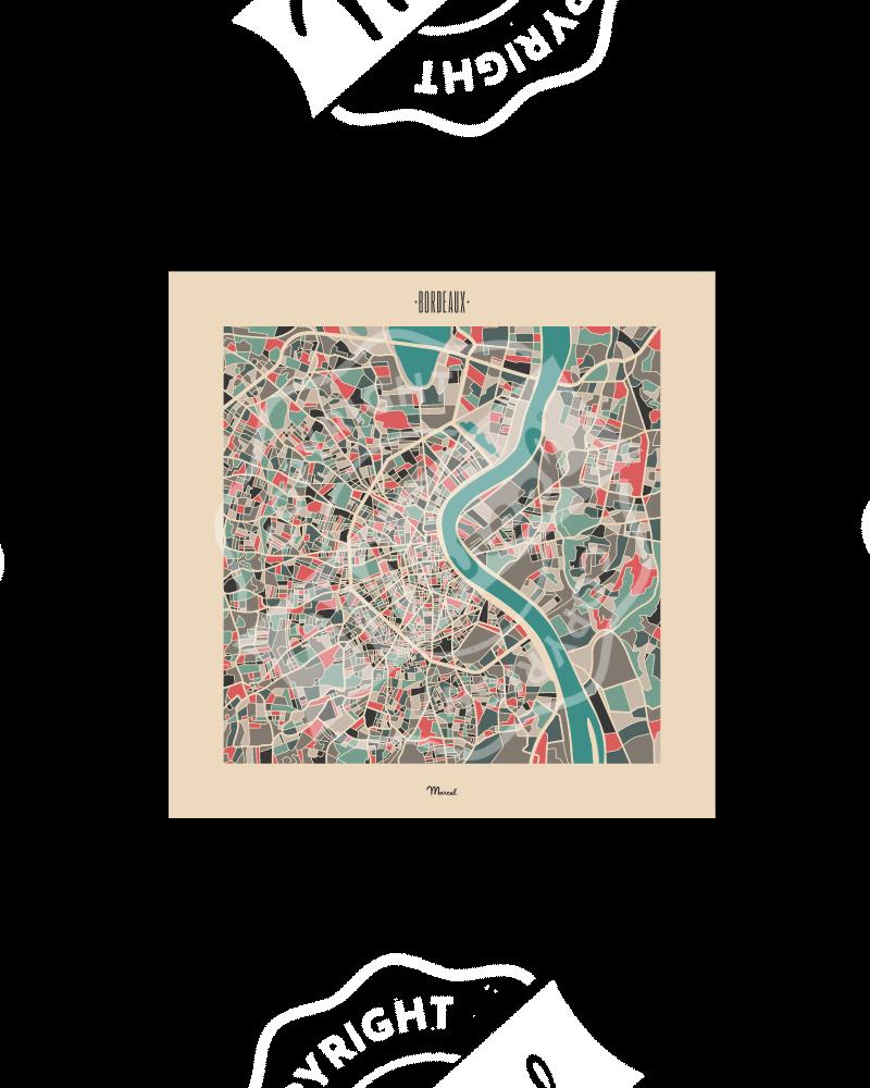 """Carte Postale BORDEAUX """"Plan Mozaic"""""""