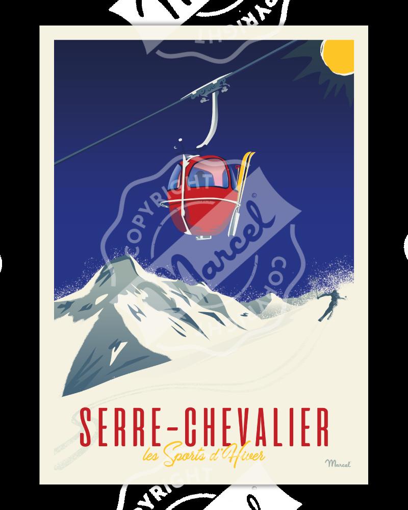 Affiche SERRE CHEVALIER «Télécabine rouge»