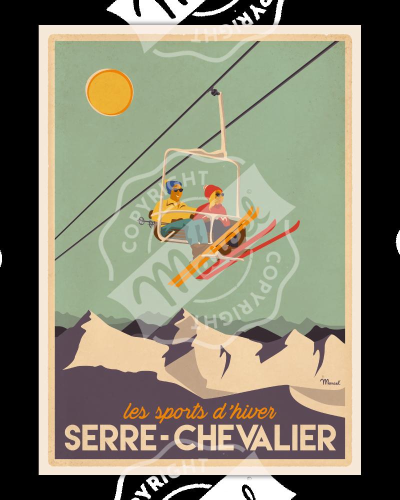 Poster SERRE CHEVALIER «Télésiège»
