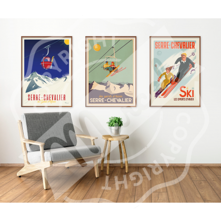 Affiche SERRE CHEVALIER «Les Skieurs»