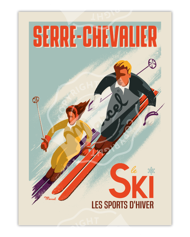 Poster SERRE CHEVALIER «Les Skieurs»