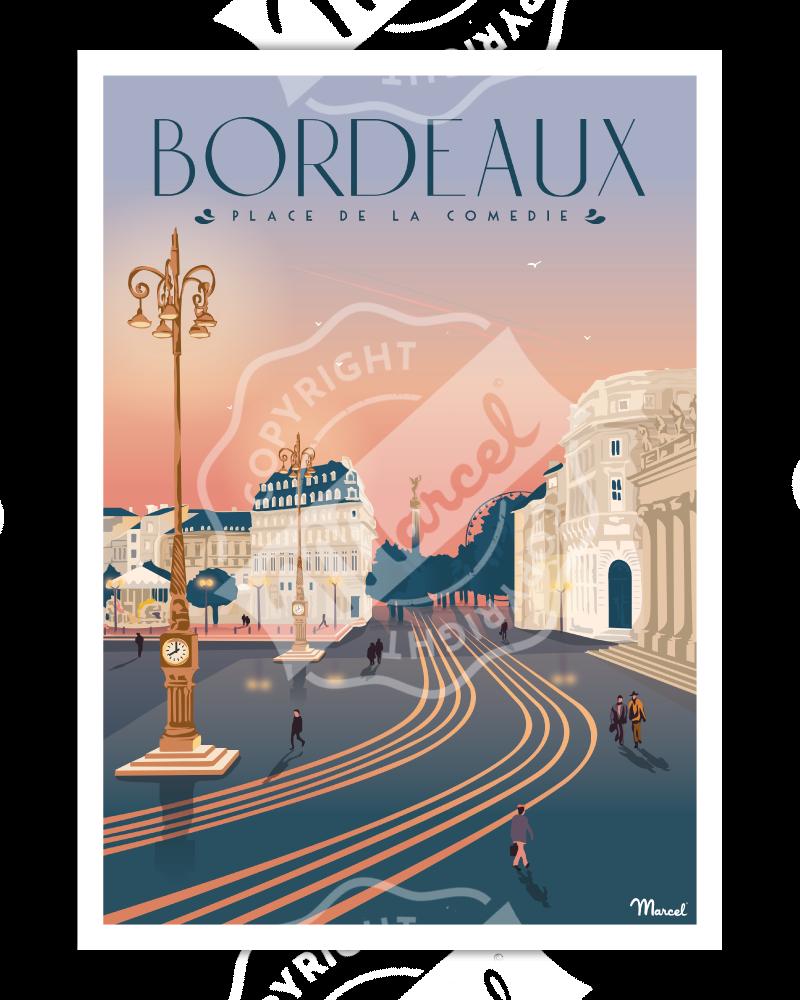 """Poster Bordeaux """"Place de la Comédie"""""""