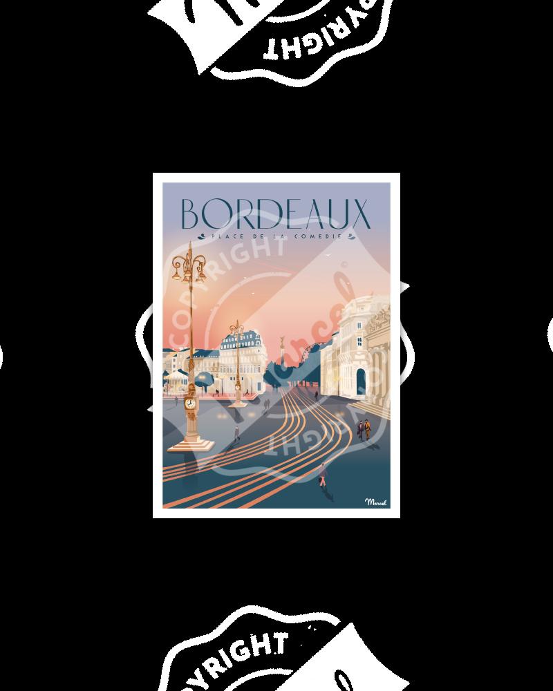 """Postcard BORDEAUX """"Place de la Comédie"""""""