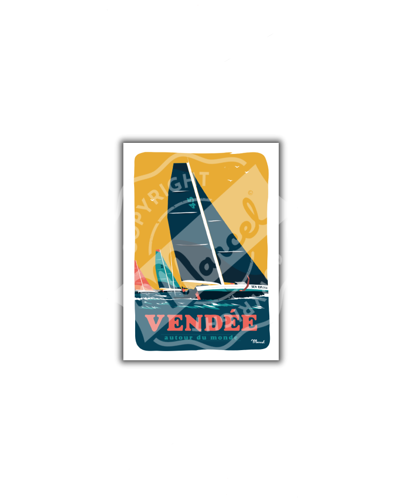 """Postcard VENDEE """"Autour du Monde"""""""