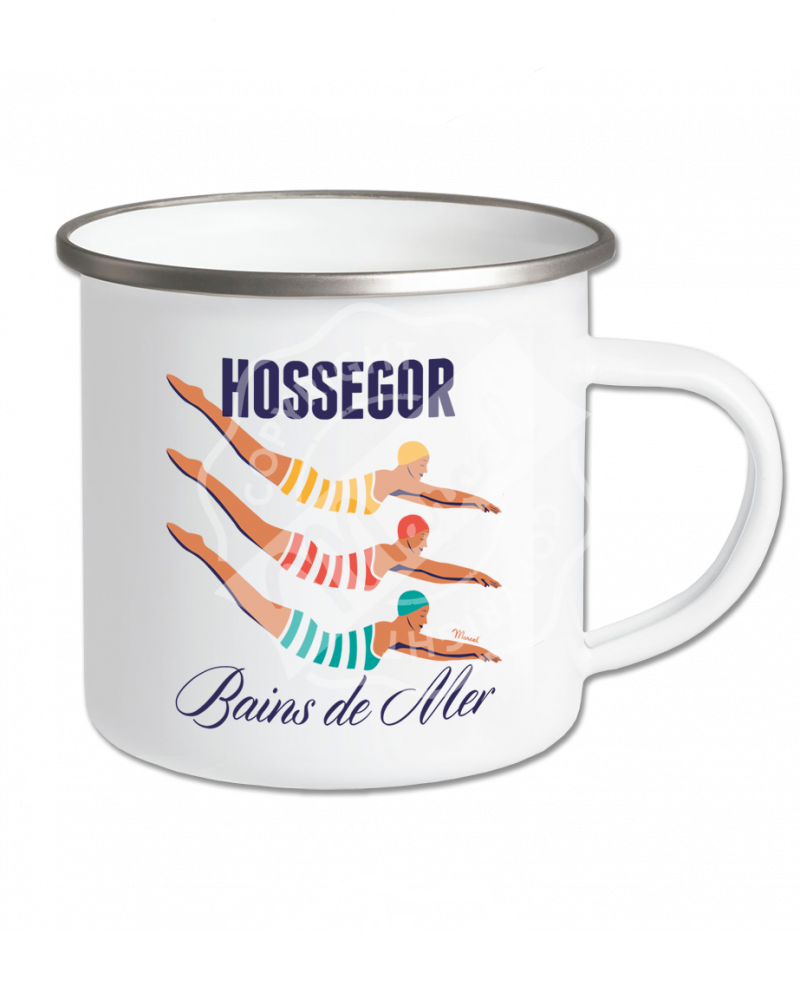 Mug Emaillé Style Rétro Marcel - HOSSEGOR Bains de Mer
