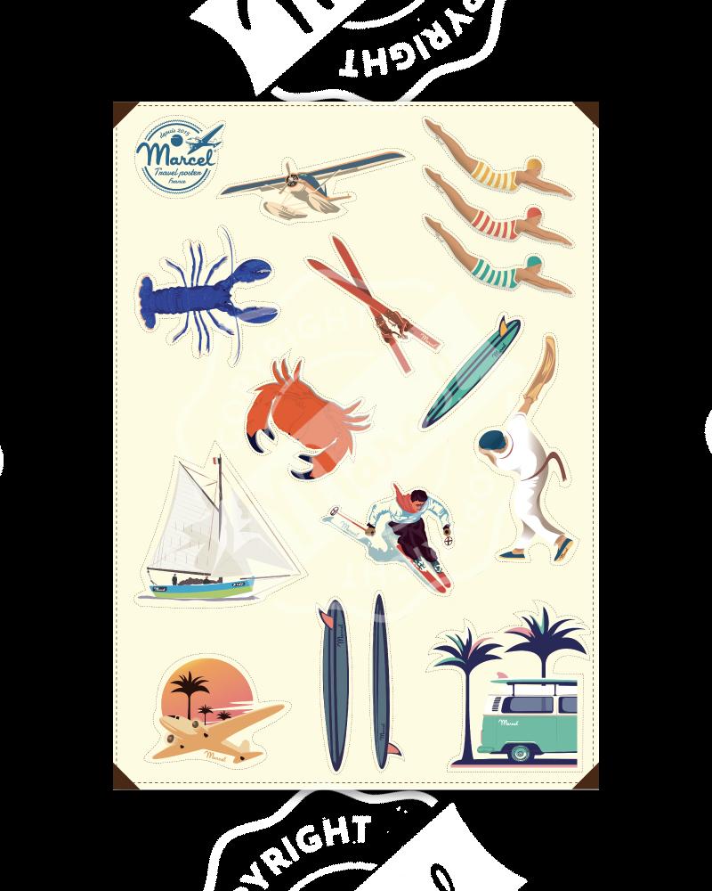 Planche de 16 Stickers MARCEL