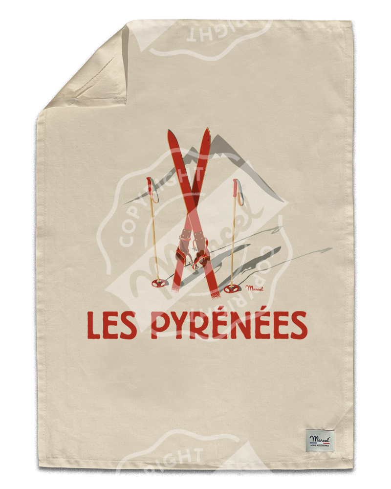 "Kitchen Towel "" Léon "" - Les Skis Rouges"