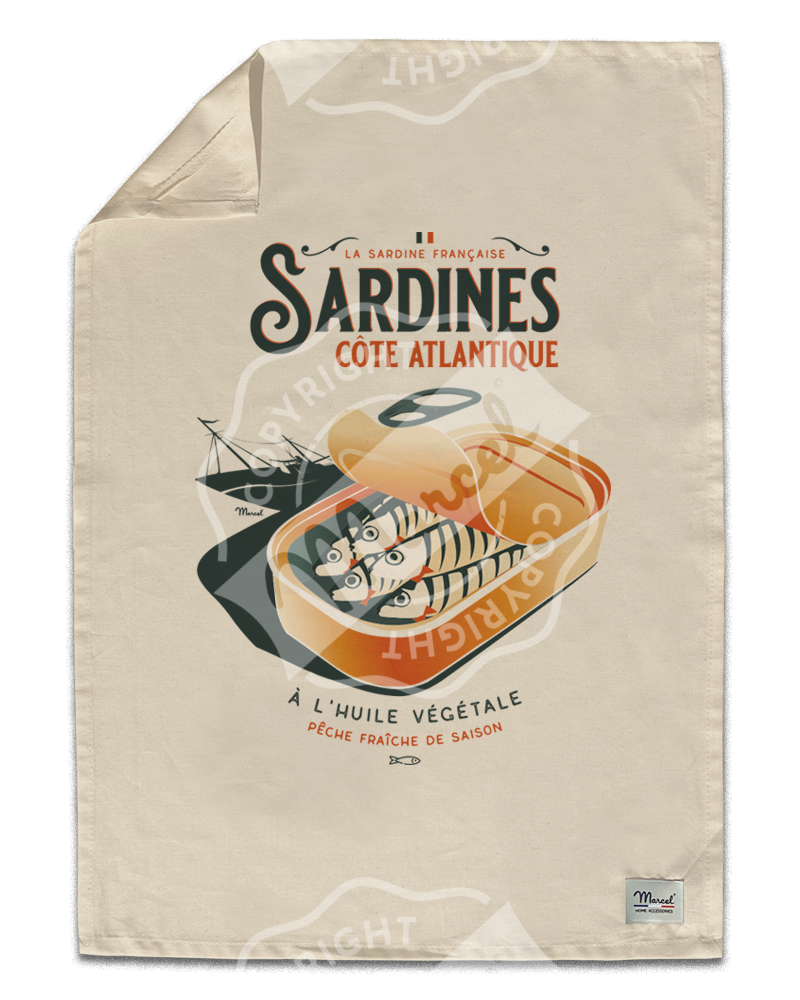 "Kitchen Towel "" Léon "" - SARDINES"