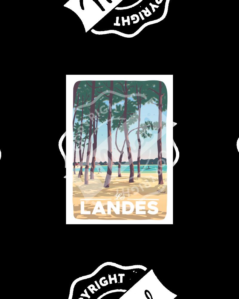 """Postcard LANDES """"Au Bord du Lac"""""""