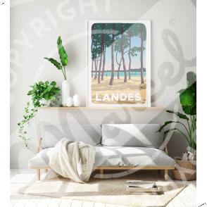 """Affiche LANDES """"Au Bord du Lac"""""""