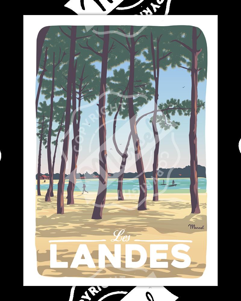 """Poster LANDES """"Au Bord du Lac"""""""