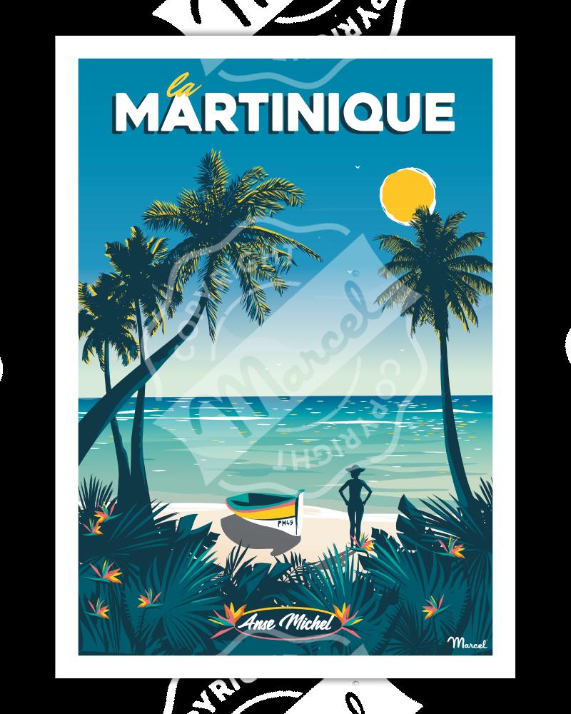 """Poster MARTINIQUE """"Anse Michel"""""""