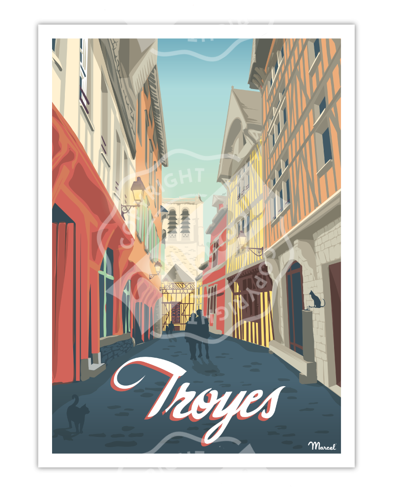 "Affiche TROYES ""Ruelle des Chats"""
