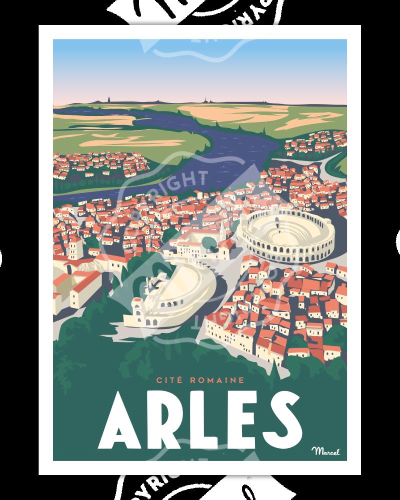 """Affiche ARLES """"Cité Romaine"""""""