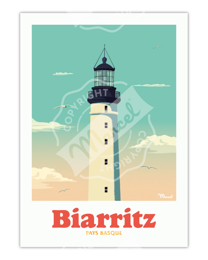 "Affiche BIARRITZ ""Le Phare"""
