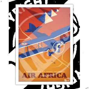 """Affiche """"Air Africa"""", Exploration en Terre Inconnue"""