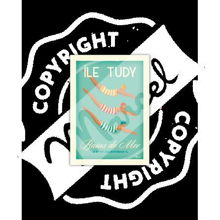 Postcard ILE TUDY ''Bains de Mer''
