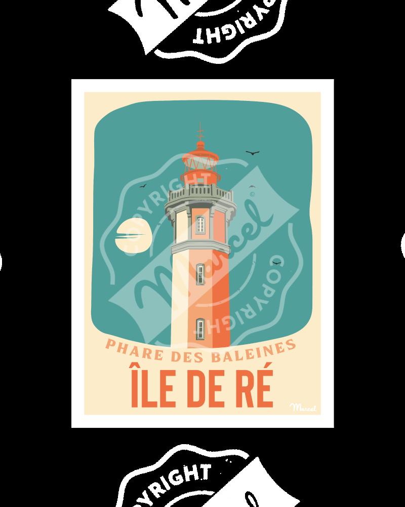 """Poster ILE DE RÉ """"Phare des Baleines"""""""