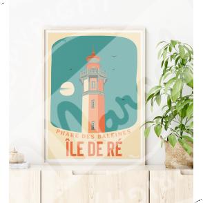 """Affiche ILE DE RÉ """"Phare des Baleines"""""""