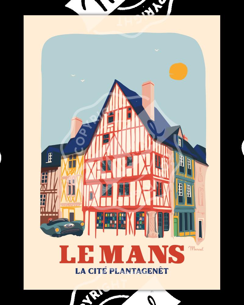 Affiche LE MANS ''Cité Plantagenêt''