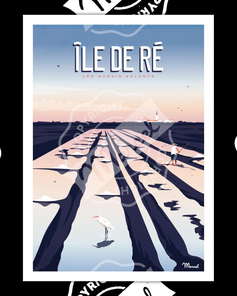 Poster Île de Ré ''Marais Salants''