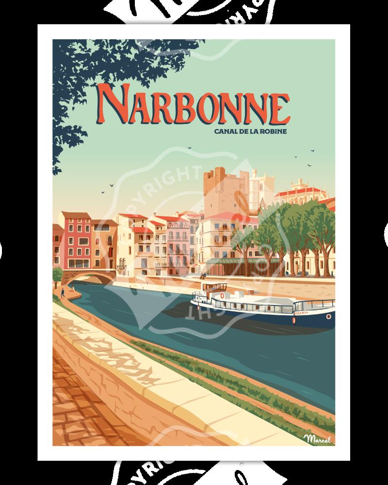 Affiche NARBONNE ''Le Canal de la Robine''