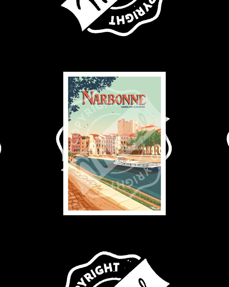 Carte Postale NARBONNE ''Le Canal de la Robine''