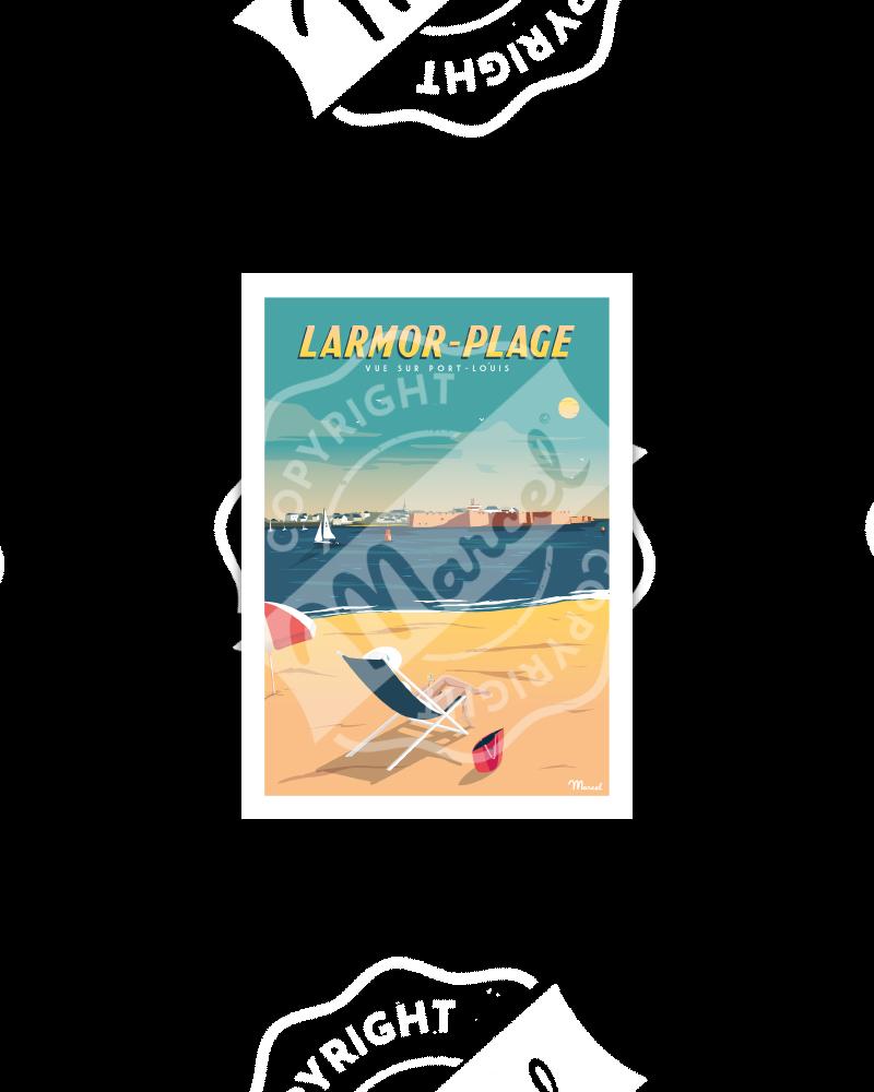 Carte Postale LARMOR-PLAGE ''Vue sur Port-Louis''