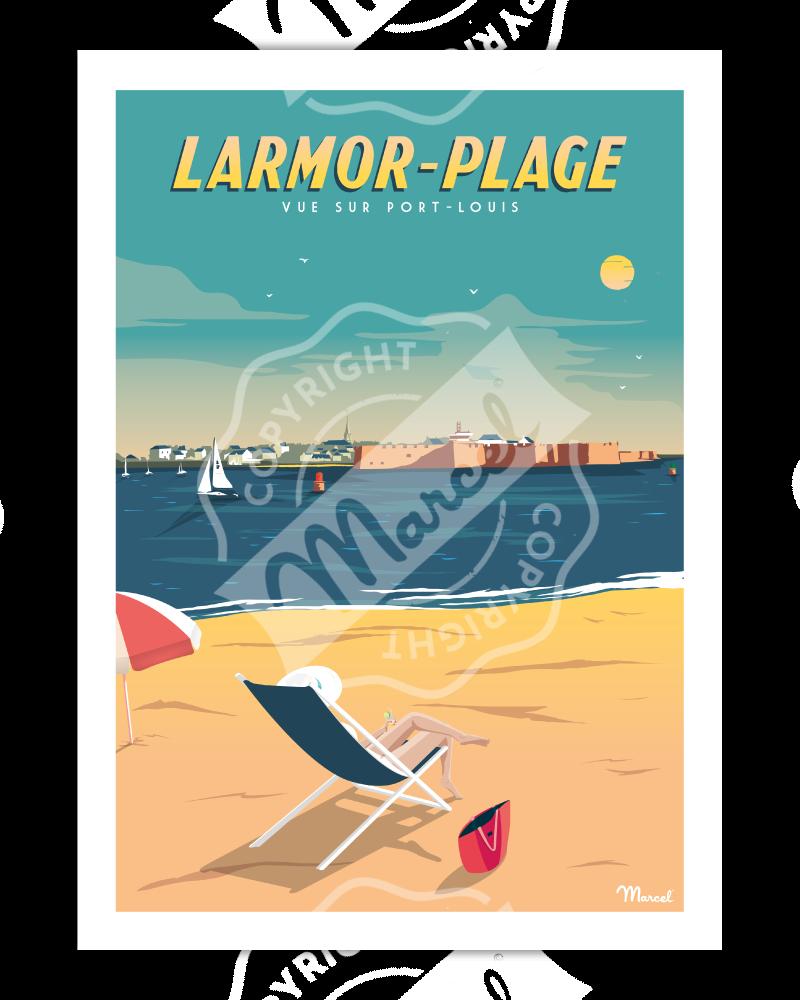 Affiche LARMOR-PLAGE ''Vue sur Port-Louis''