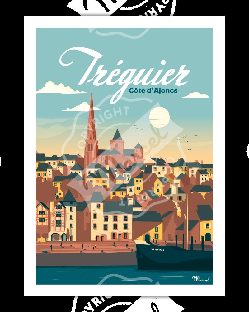 Poster TREGUIER ''Côte D'Ajoncs''