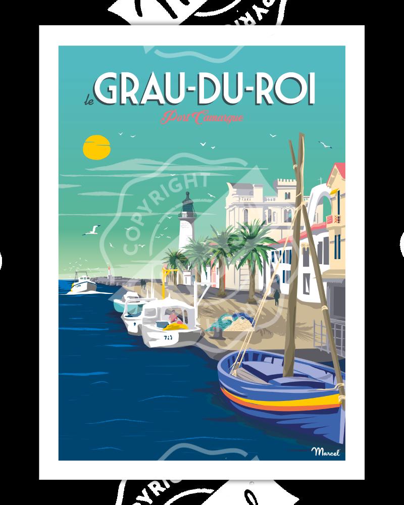 """Poster LE GRAU DU ROI ''Port Camargue"""""""