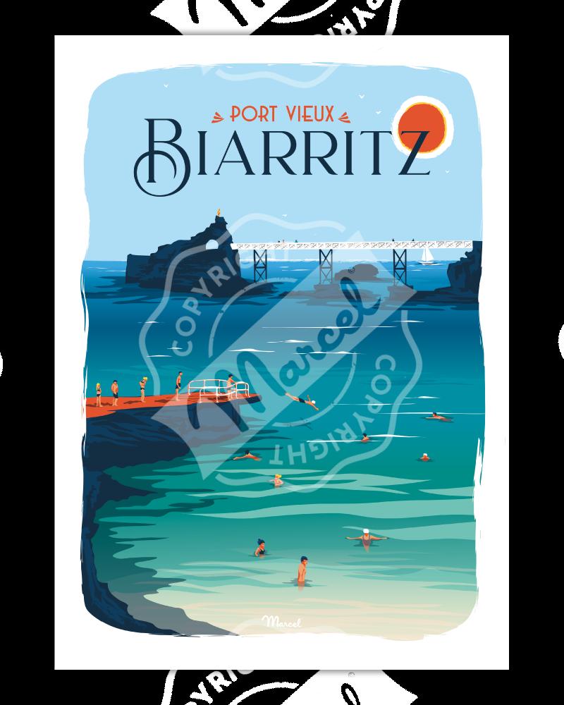 Poster BIARRITZ ''Port Vieux''