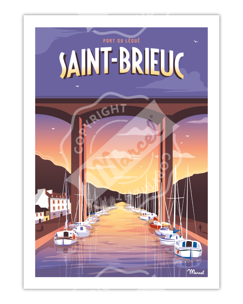 Poster SAINT-BRIEUC ''Port Légué''