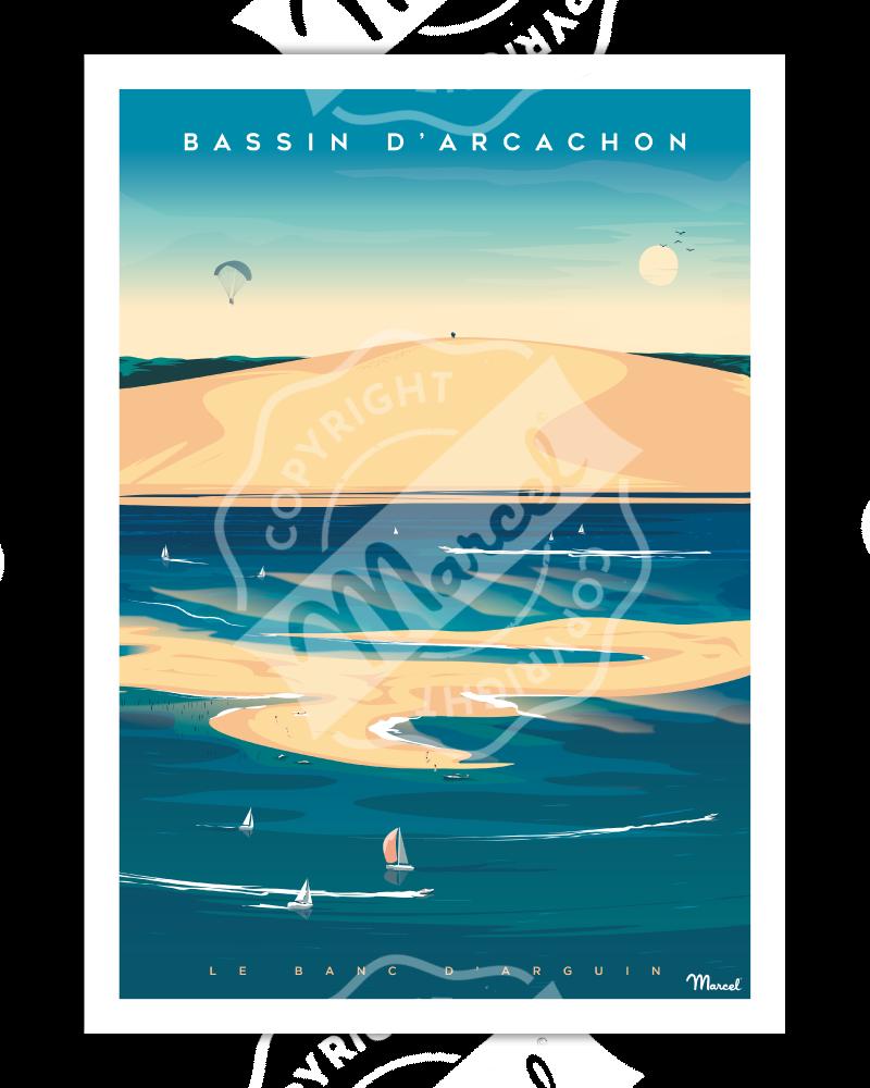 """Poster BASSIN D'ARCACHON """"Banc d'Arguin"""""""