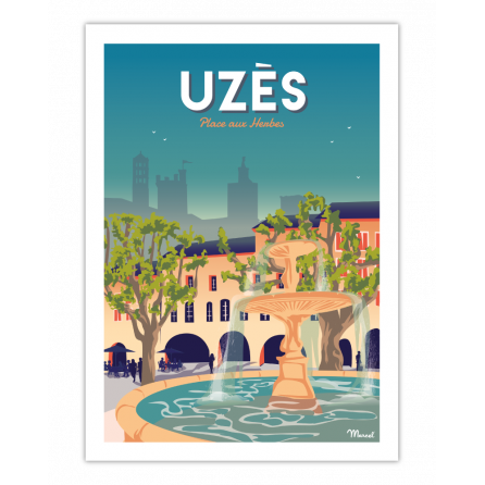 """AFFICHE UZES """"Place aux herbes"""""""