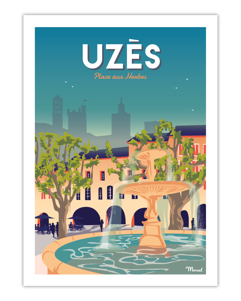 """Poster UZES """"Place aux herbes"""""""