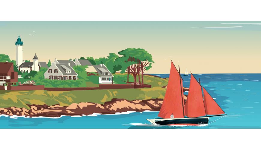 Affiche vintage Bretagne, collection de poster rétro Côte Ouest - Marcel Travel Poster